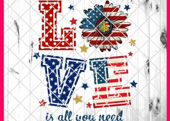 4th of July Love Flower America Flag Deisng PNG T shirt | Love is All You Need America Daisy Peace PNG T shirt t shirt template