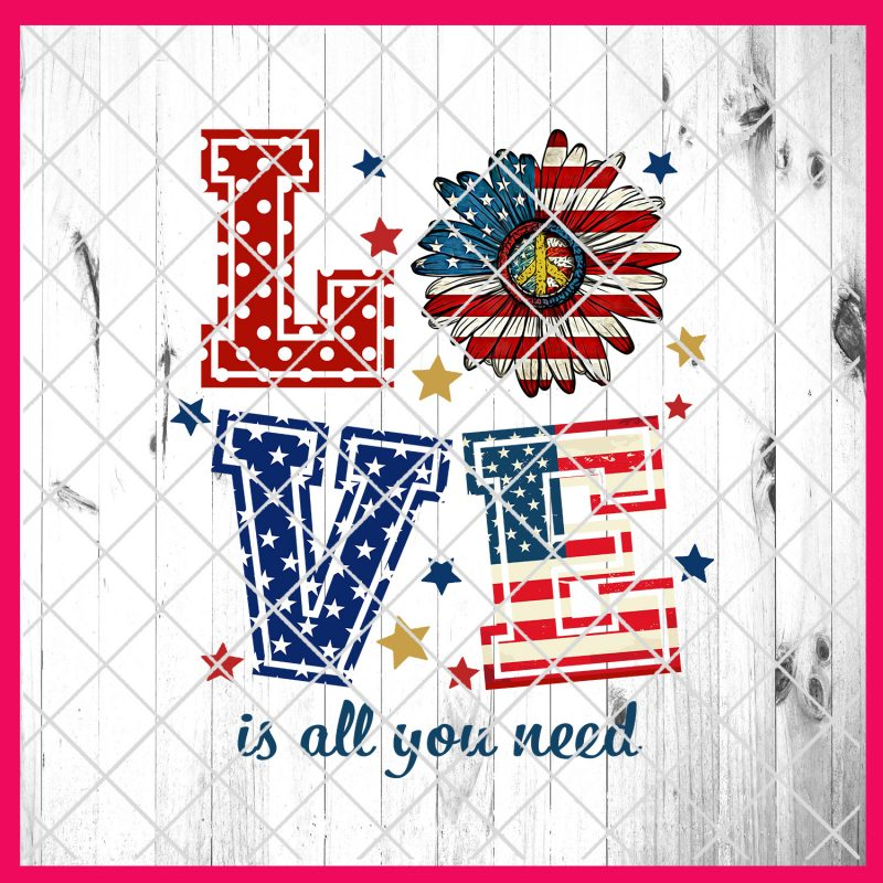 4th of July Love Flower America Flag Deisng PNG T shirt | Love is