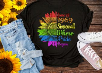 Pride Stonewall 1969 Where Pride Began 50th Anniversary Sunflower Rainbow T shirt PNG t shirt template