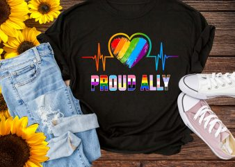 Proud Ally Rainbow Heartbeat LGBT Pride T shirt – Pride 50th Stonewall 1969 t shirt template