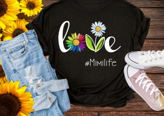 Love mimi life Flower rainbow T shirt – Daisy Flower colorful mimilife Tshirt design PNG