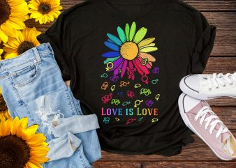 Love Is Love Flower Rainbow Daisy Colorful T shirt Design PNG Gay Pride month june