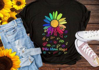 Free Mom Hugs Flower LGBT rainbow color T shirt Pride 50th Stonewall 1969 LGBT t shirt template