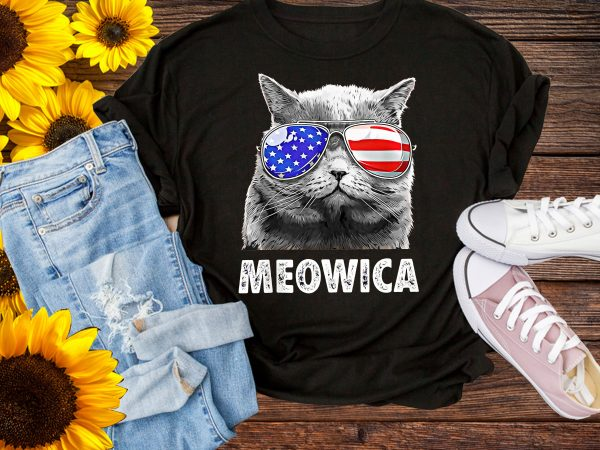 Cat Meowica Sunglasses America Flag T shirt Design PNG – Meowica USA Cat Design