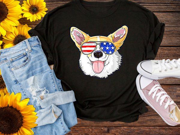 Corgi Dog Sunglasses America Flag T shirt Design 4th of July Dog USA Flag PNG