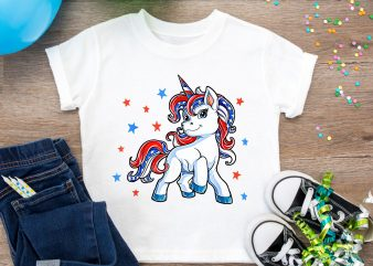 Unicorn merica 4th of jule america flag t shirt design PNG t shirt template