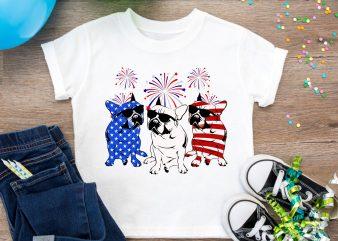 English bulldog USA Flag, French bulldog America Flag Design PNG T shirt