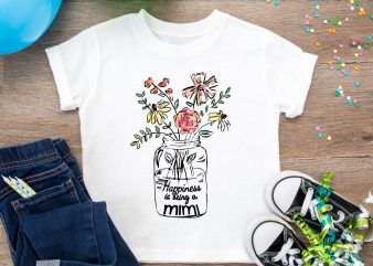 Happiness is being mimi Flower T shirt – Blessed To Be Called Mimi Floral T shirt Design PNG
