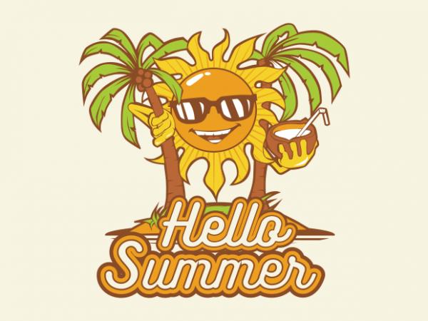 hello summer graphic t shirt