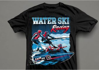 Water ski t shirt vector