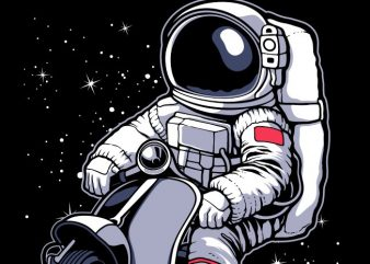 astronaut scooter t shirt vector