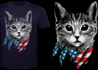 4th july Cat present t shirt vector
