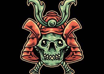 samurai skull tshirt design