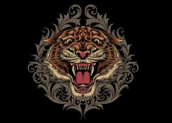 Tiger Ornamental t shirt designs for sale