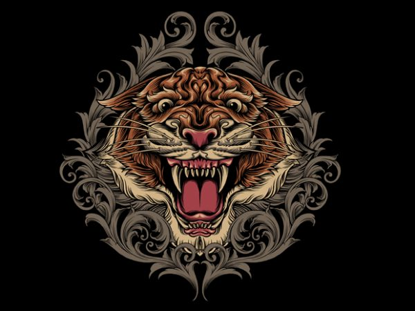 Tiger Ornamental t shirt designs for sale