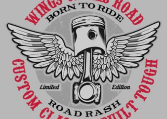 WINGS OF THE ROAD t shirt design for sale