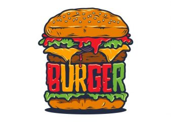 Burger t shirt vector