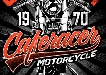 Cafe racer motorcycle t shirt template