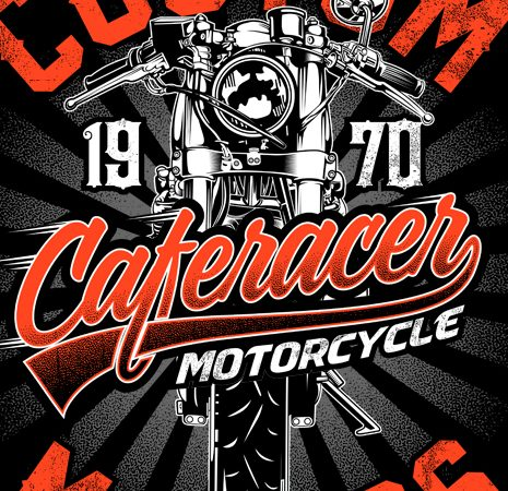 Cafe racer motorcycle t shirt vector file