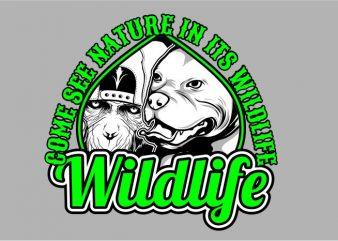 Wild Life t shirt design for sale