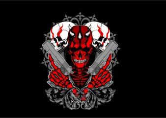 Skull Hand Gun t shirt template vector