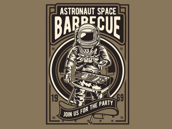 Astronaut Space Barbeque t shirt vector