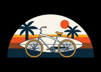 Surf Bike t shirt template vector