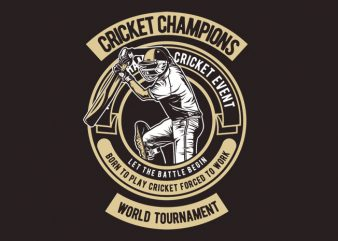 Cricket Champions t shirt template