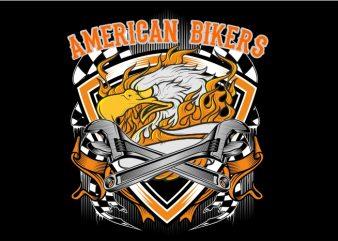 Eagle Biker vector clipart