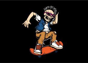 Eyeglasses Skull with Skateboard vector clipart