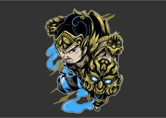Gatot Kaca Hero t shirt design template