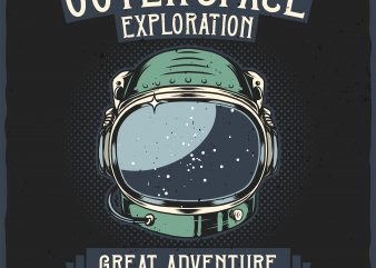 Outer Space Exploration. Vector T-Shirt Design t shirt template