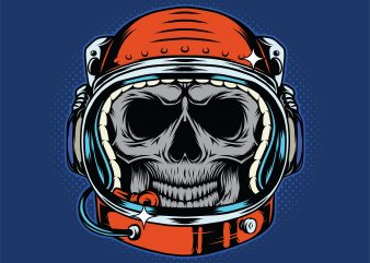 Astronaut skull helmet. Vector T-Shirt Design t shirt template