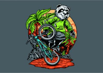Panda Freestyle BMX t shirt illustration