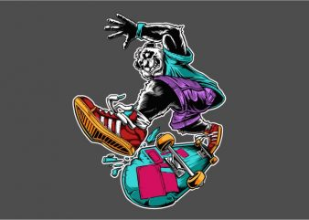 Panda Skateboard t shirt illustration