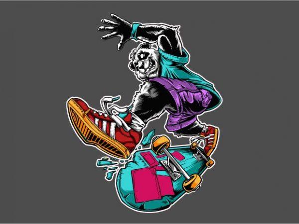 Panda Skateboard t shirt illustration