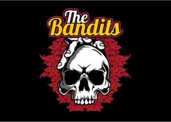 The Bandit Skull t shirt designs for sale
