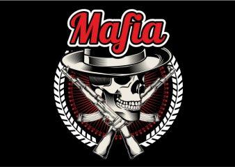 The Mafia Skull with Riffle t shirt vector
