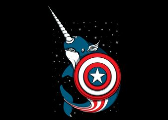 Captain Narwhal t shirt vector