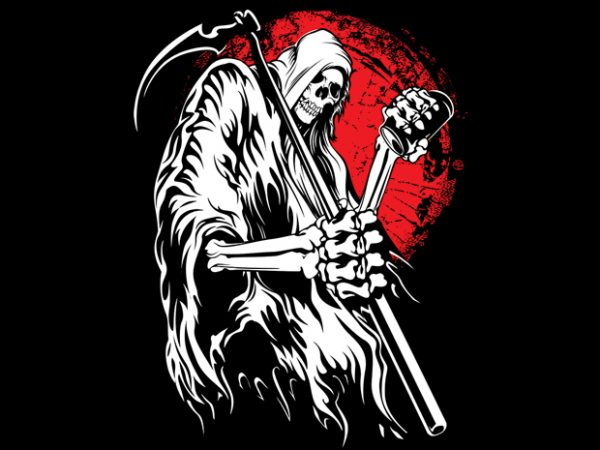 Grim reaper t shirt design template