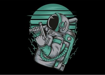 Astronout with the Gun t shirt vector