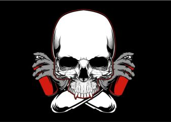 Skull with Color Spray t shirt vector