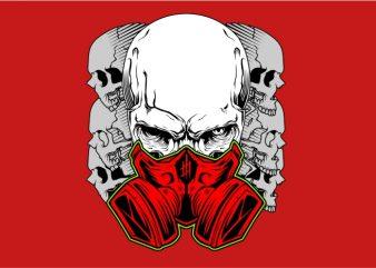 Skull Using Mask t shirt template vector