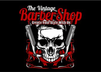 The Vintage Barber Shop t shirt vector