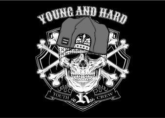 Young and Hard t shirt vector