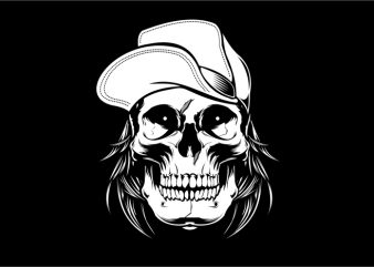 Skull Wearing Hat t shirt template vector