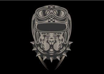 Doggy Helmet t shirt vector illustration