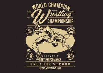 Wrestling t shirt design for sale