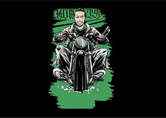 Zoro Gangster Rider t shirt graphic design
