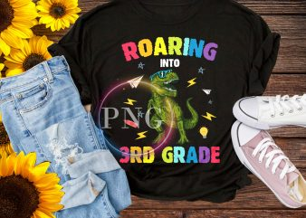 T-rex roaring into 3rd grade T shirt – back to school
